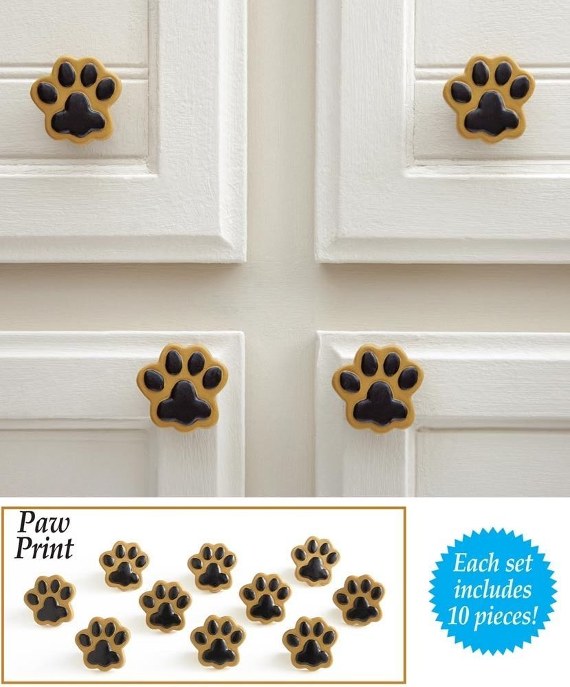 10 Pc Dog Cat Paw Print Drawer Cabinet Knob Pull Resin Metal 1 14h with size 829 X 1000