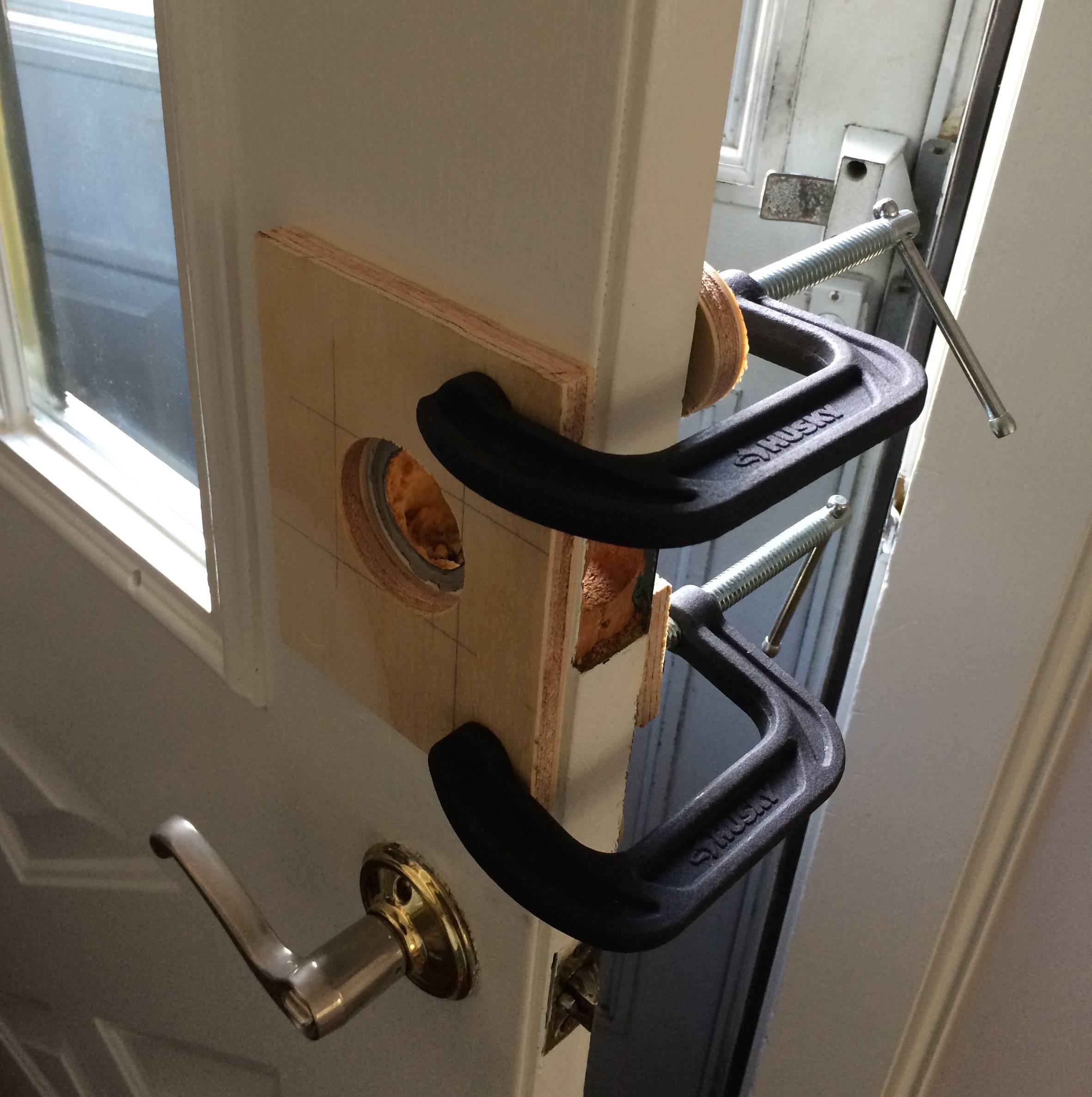 Enlarging A Deadbolt Door Knob Hole On A Steel Door Home inside dimensions 2363 X 2374