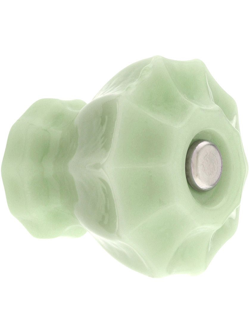 Delicieux Large Fluted Glass Cabinet Knob With Nickel Bolt Milk Glass Glass Intended  For Proportions 840 X