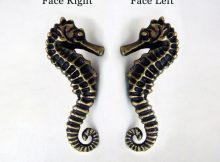 Pair Set Right Left Seahorse Cabinet Handle Solid Brass Knob pertaining to dimensions 1500 X 1461
