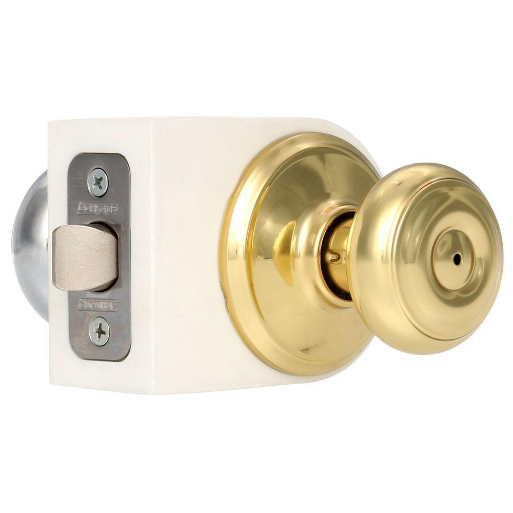 schlage georgian bright brassbright chrome privacy bedbath door regarding size 1000 x 1000 - Bathroom Door Knobs