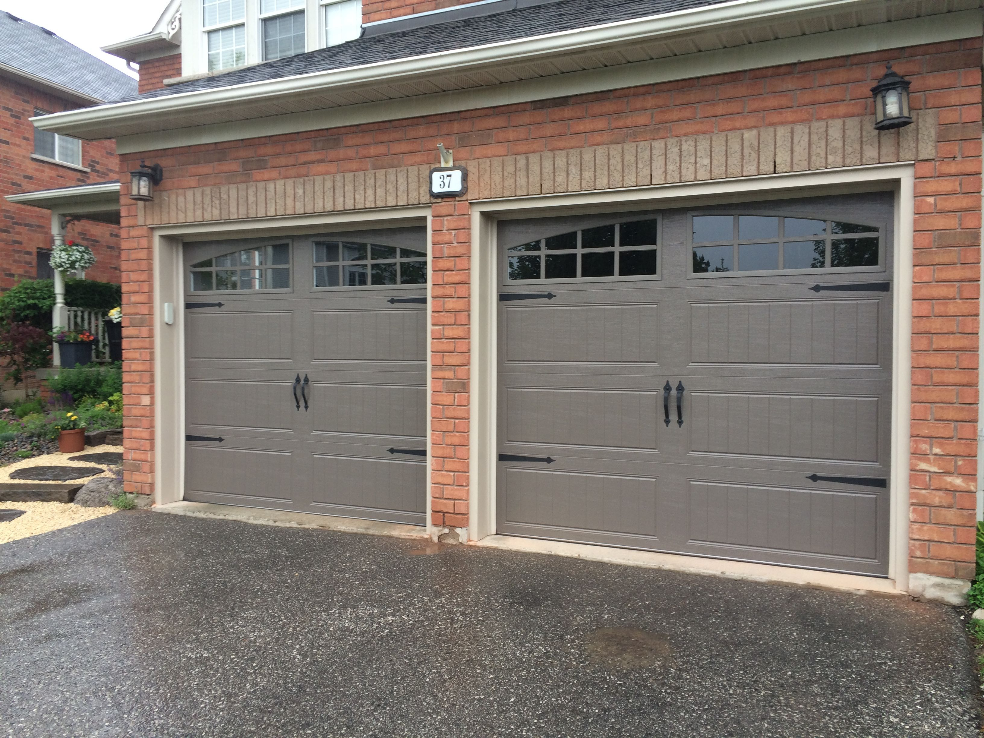 8x7 Clopay Steel Insulated Bronze Carriage Doors With True Arch with regard to proportions 3264 X 2448