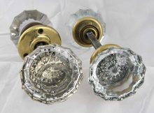 Antique Extra Large Fluted Glass Door Knob Set With Rosettes Olde intended for dimensions 1200 X 910