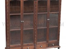 Rare Antique Thai Teak Display Cabinet With Drawers And Glass Doors inside proportions 1024 X 1024