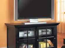 Tv Stands Transitional Media Console With Sliding Glass Doors Lowest with measurements 1097 X 1097