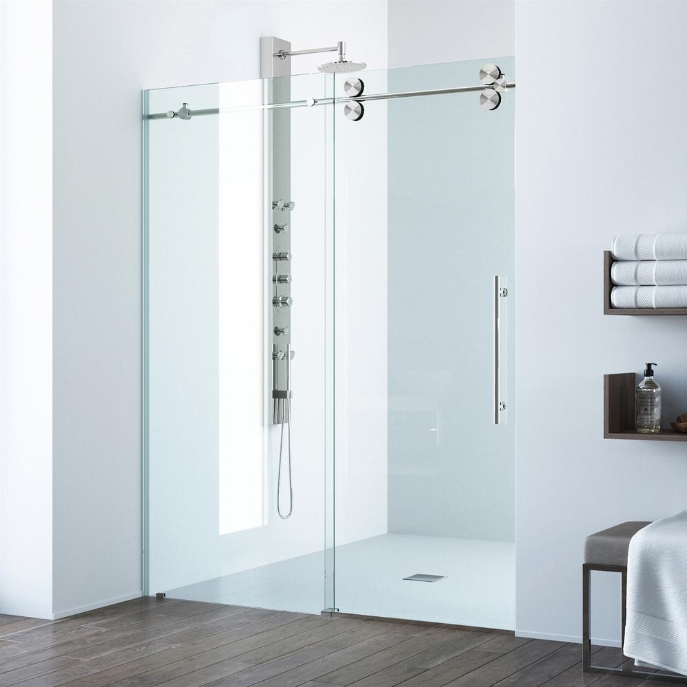 Vigo Elan 64 In X 74 In Frameless Sliding Shower Door In Stainless inside proportions 1000 X 1000