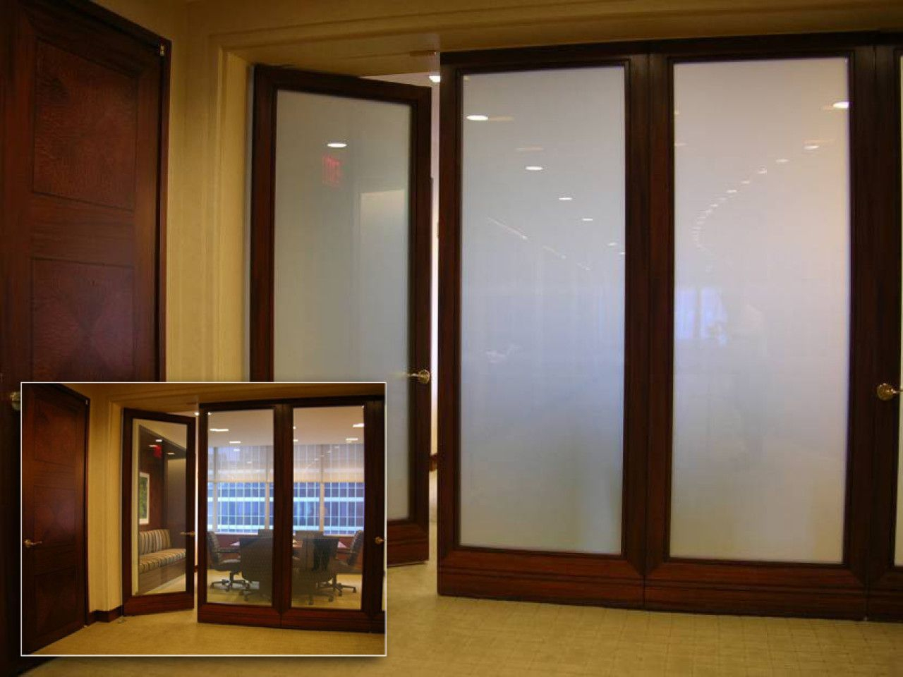Wood Framed Switchable Privacy Glass Doors Modern Conference Room for measurements 1280 X 960