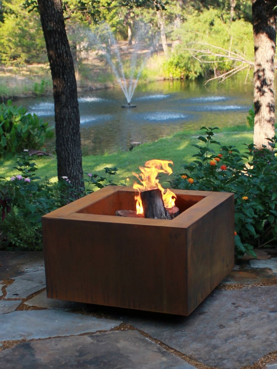 30 Inch Square Cor Ten Steel Fire Pit For Fire Glass Yardage within measurements 900 X 1200