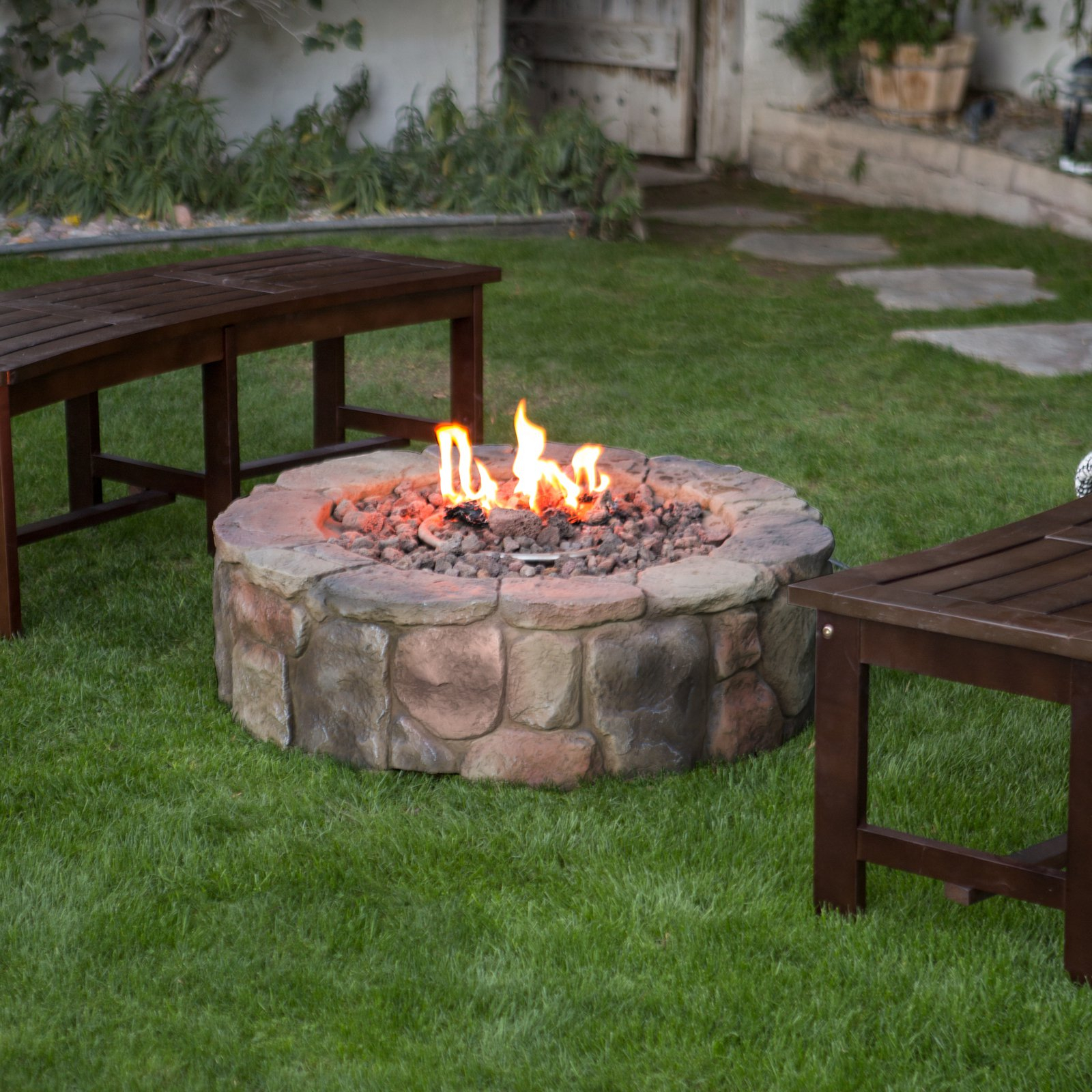 36 In Outdoor Round Camp Fire Pit Propane Gas Patio Rustic Faux within proportions 1600 X 1600
