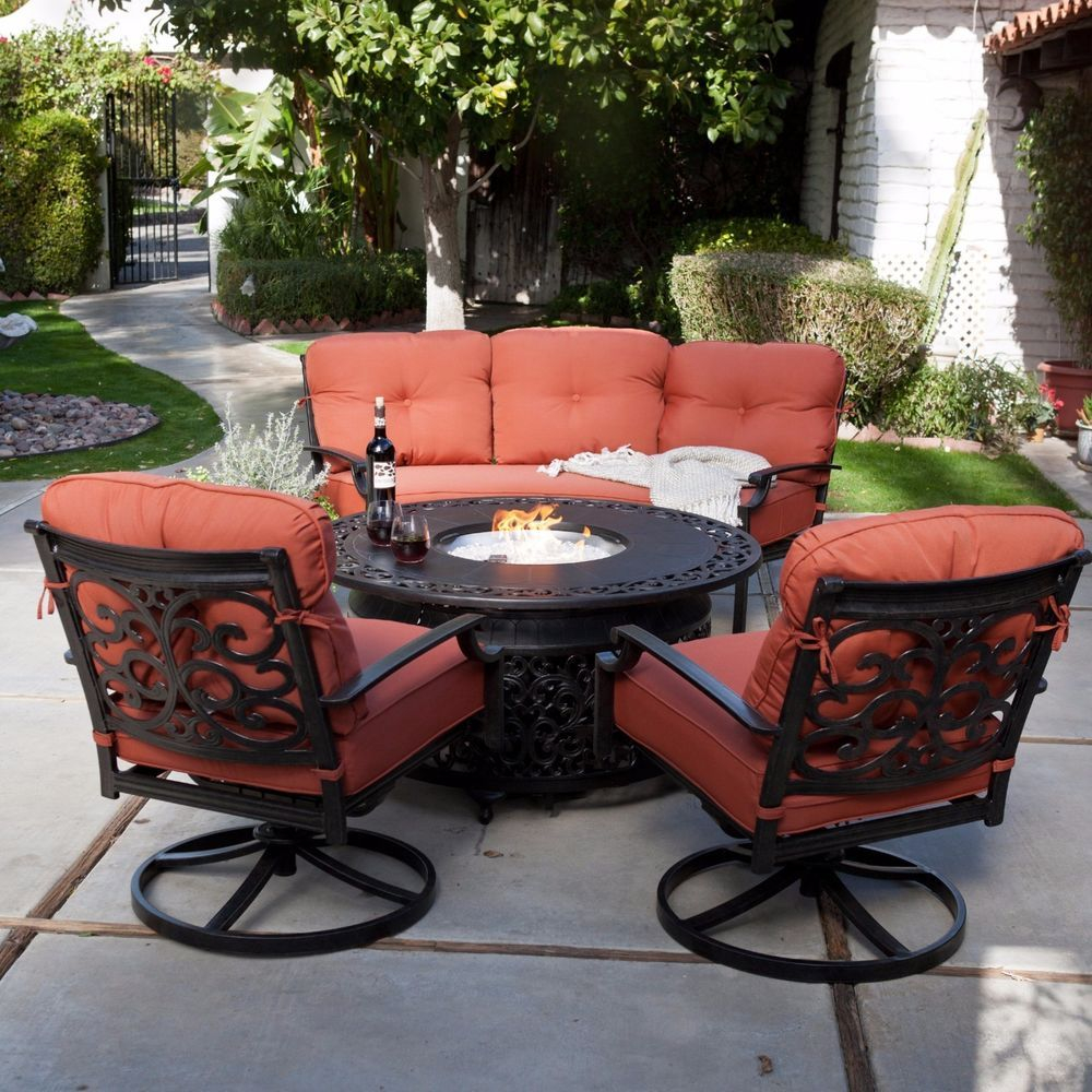 4 Piece Outdoor Patio Deck Furniture Set Round Table Gas Fire Pit 48 inside proportions 1000 X 1000