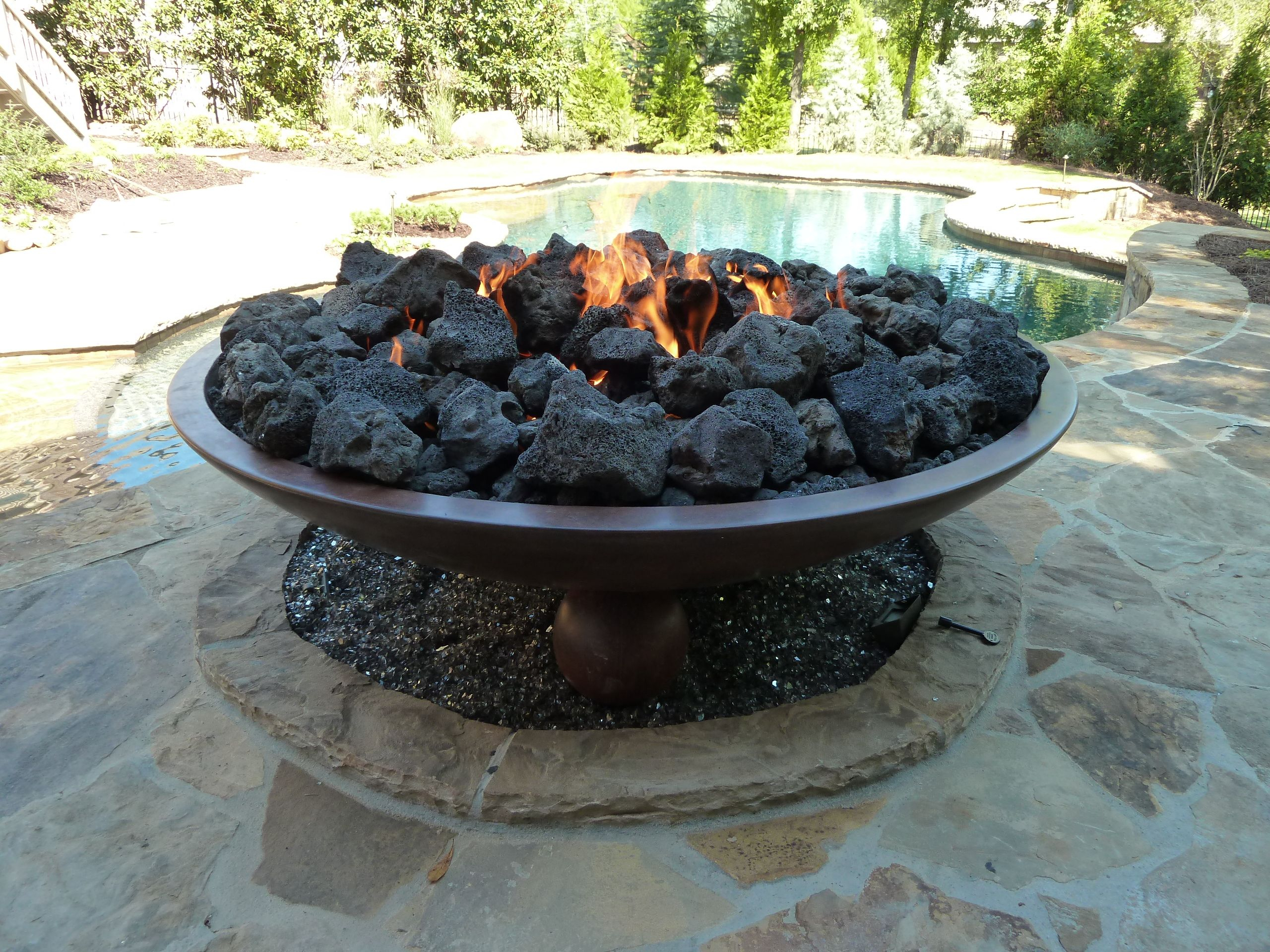 60 Barbados Fire Bowl With Large Black Lava Rock Available In regarding dimensions 2560 X 1920