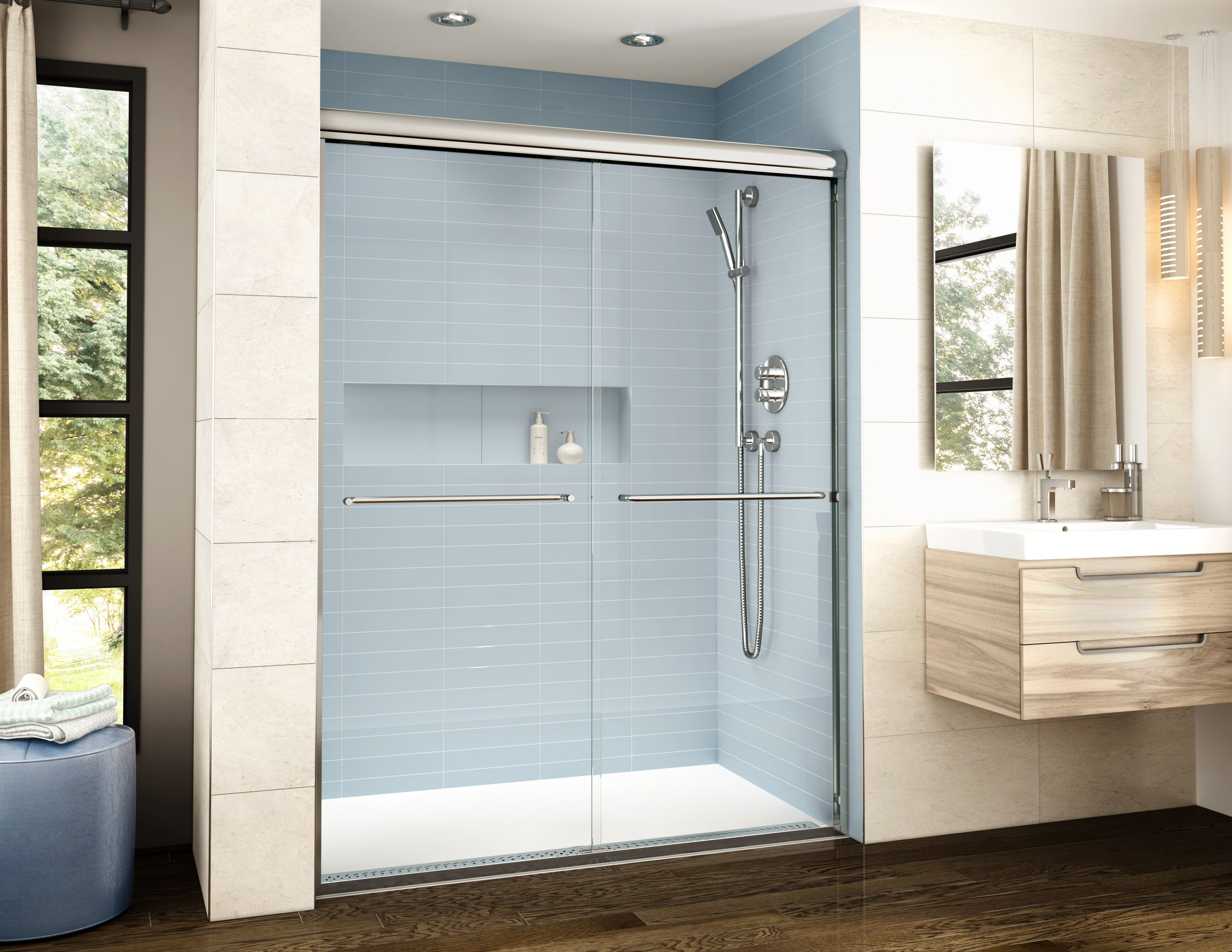 Adaptek Shower Base And The Banyo Cordoba Shower Door Fleurco intended for size 3300 X 2550