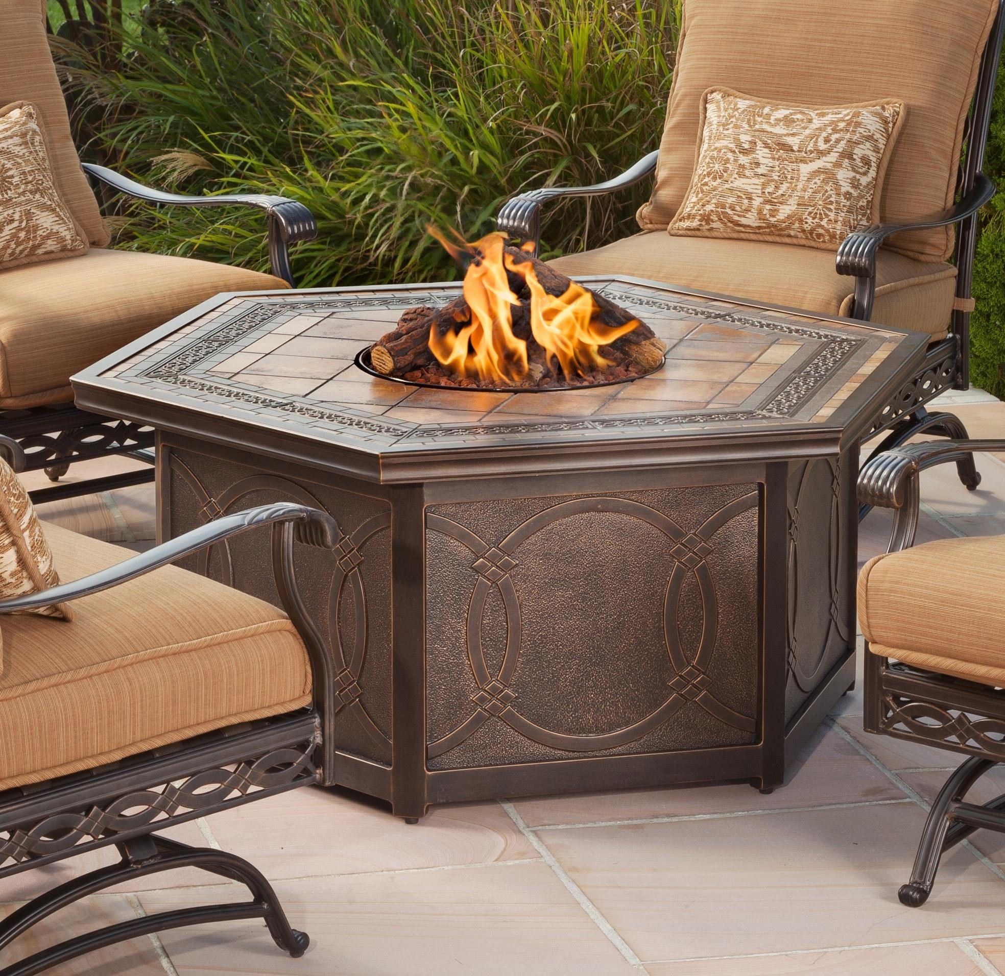 Agio Ashmost Hexagonal Cast Aluminum Outdoor Firepit Chat Table With pertaining to size 1968 X 1912