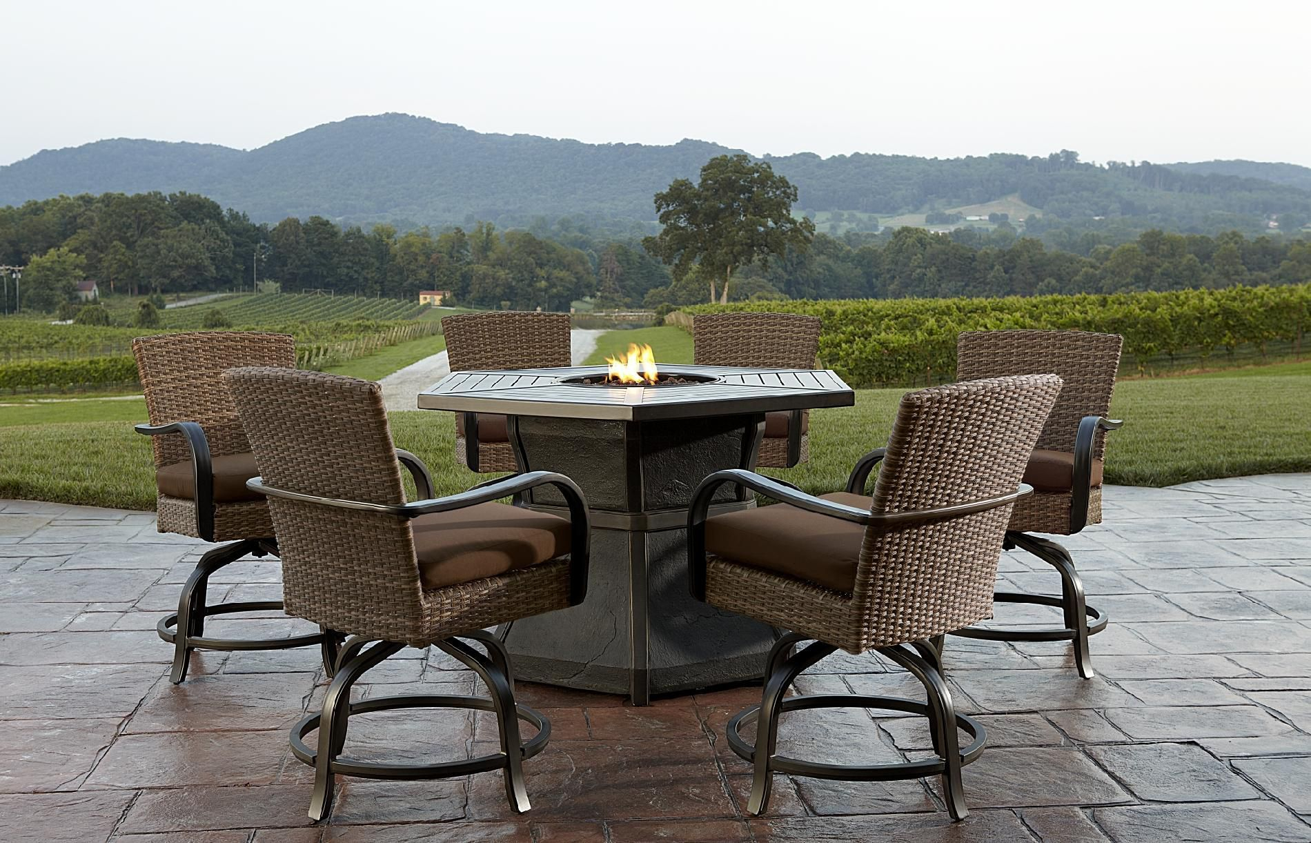 Agio Corseca 7 Piece Bar Set With Firepit Table 158499 Outdoor throughout measurements 1900 X 1222