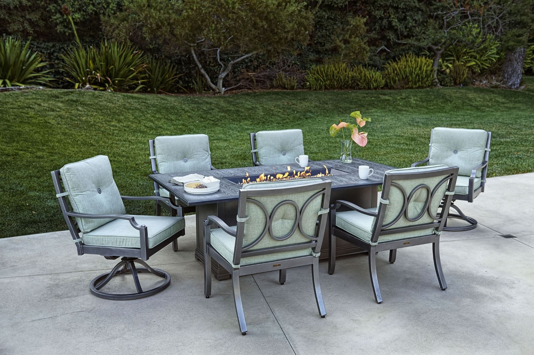 Aragon 7 Pc Fire Pit Dining Table Set throughout proportions 1803 X 1200
