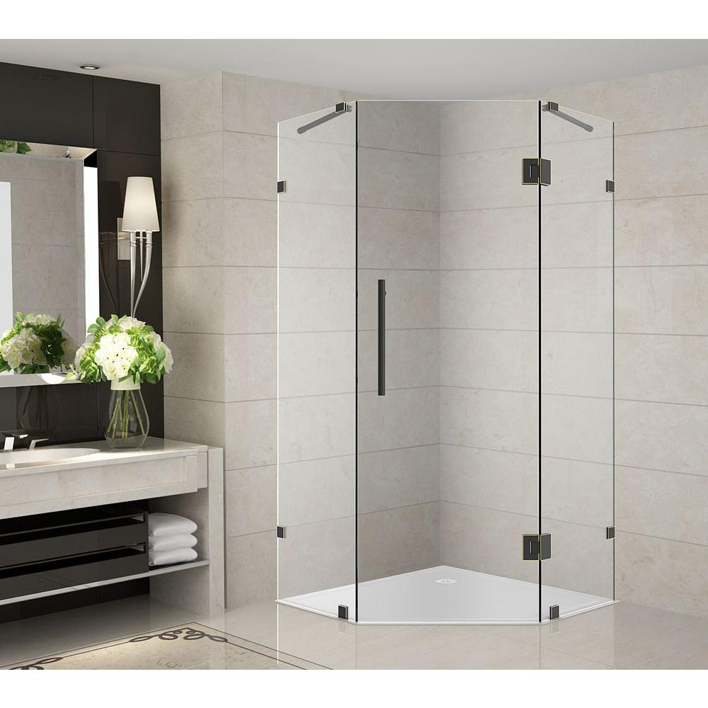 Aston Neoscape 36 In X 36 In X 72 In Completely Frameless Neo Angle Shower Enclosure In Oil Rubbed Bronze pertaining to size 1000 X 1000