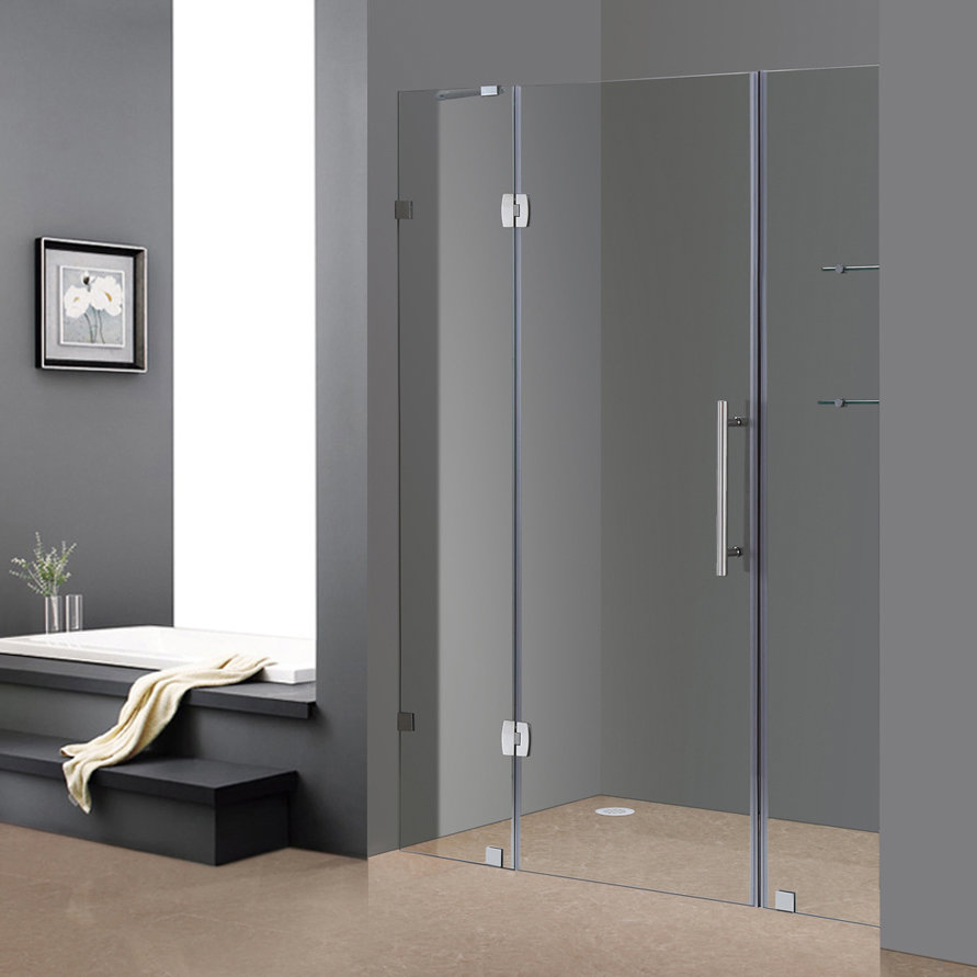 Aston Soleil 60 X 75 Hinged Completely Frameless Shower Door with regard to measurements 891 X 891
