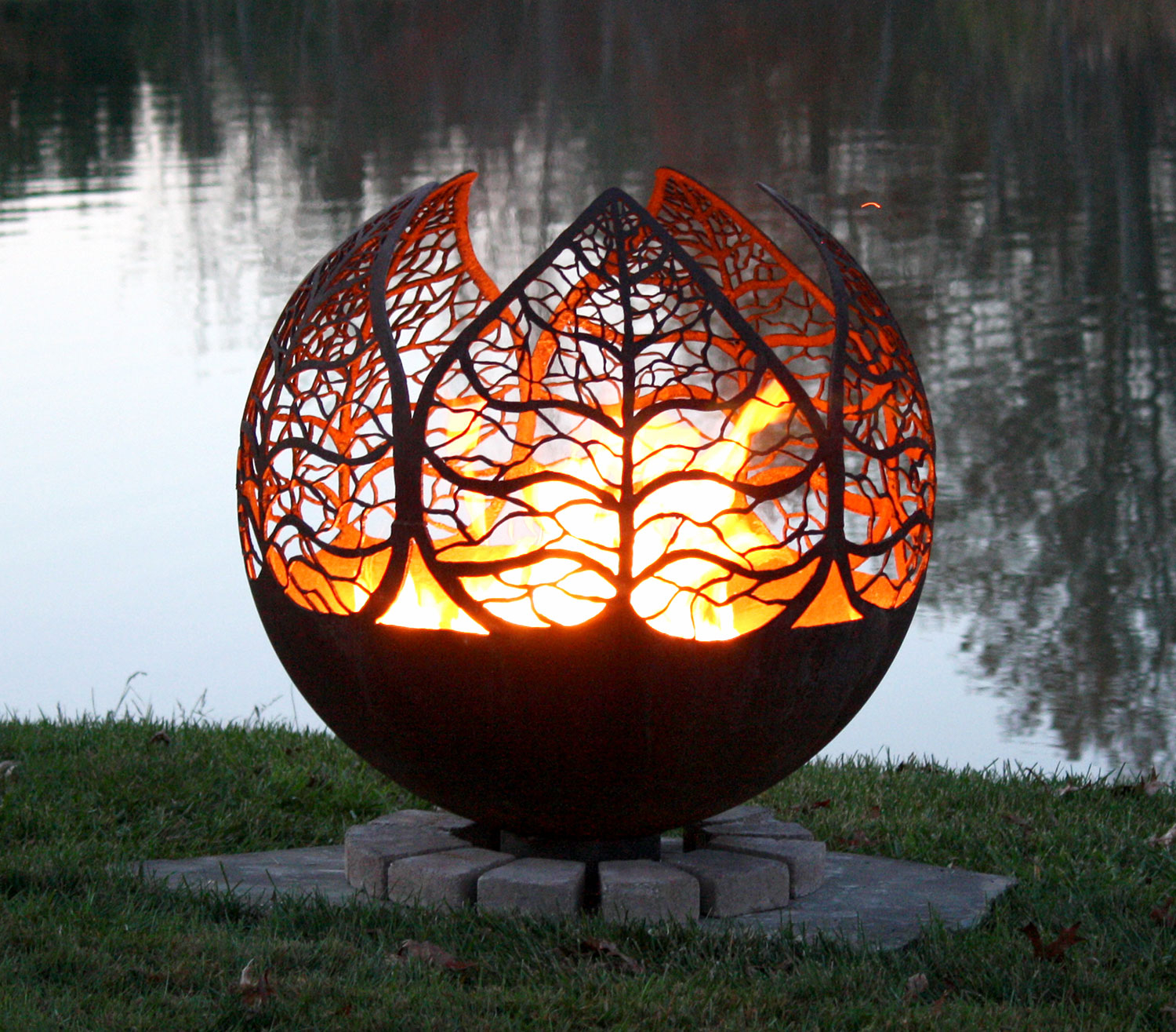 Autumn Sunset Leaf Fire Pit Sphere The Fire Pit Gallery throughout sizing 1500 X 1315
