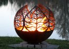 Autumn Sunset Leaf Fire Pit Sphere The Fire Pit Gallery within proportions 1500 X 1315