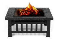 Backyard Fireplace Metal Garden Fire Pit Patio Square Stove Outdoor throughout dimensions 1000 X 1000
