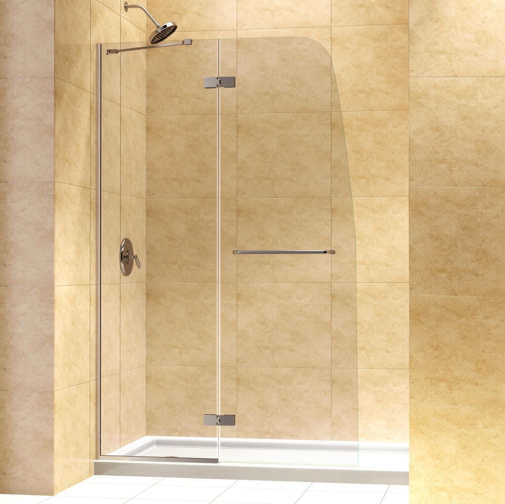 Bathroom Frameless Hinged Dreamline Shower Door With Marble Walls for sizing 1024 X 1021