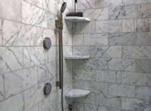 Bathroom Practical Shower Corner Shelves Walk Shower With Marble with measurements 816 X 1223