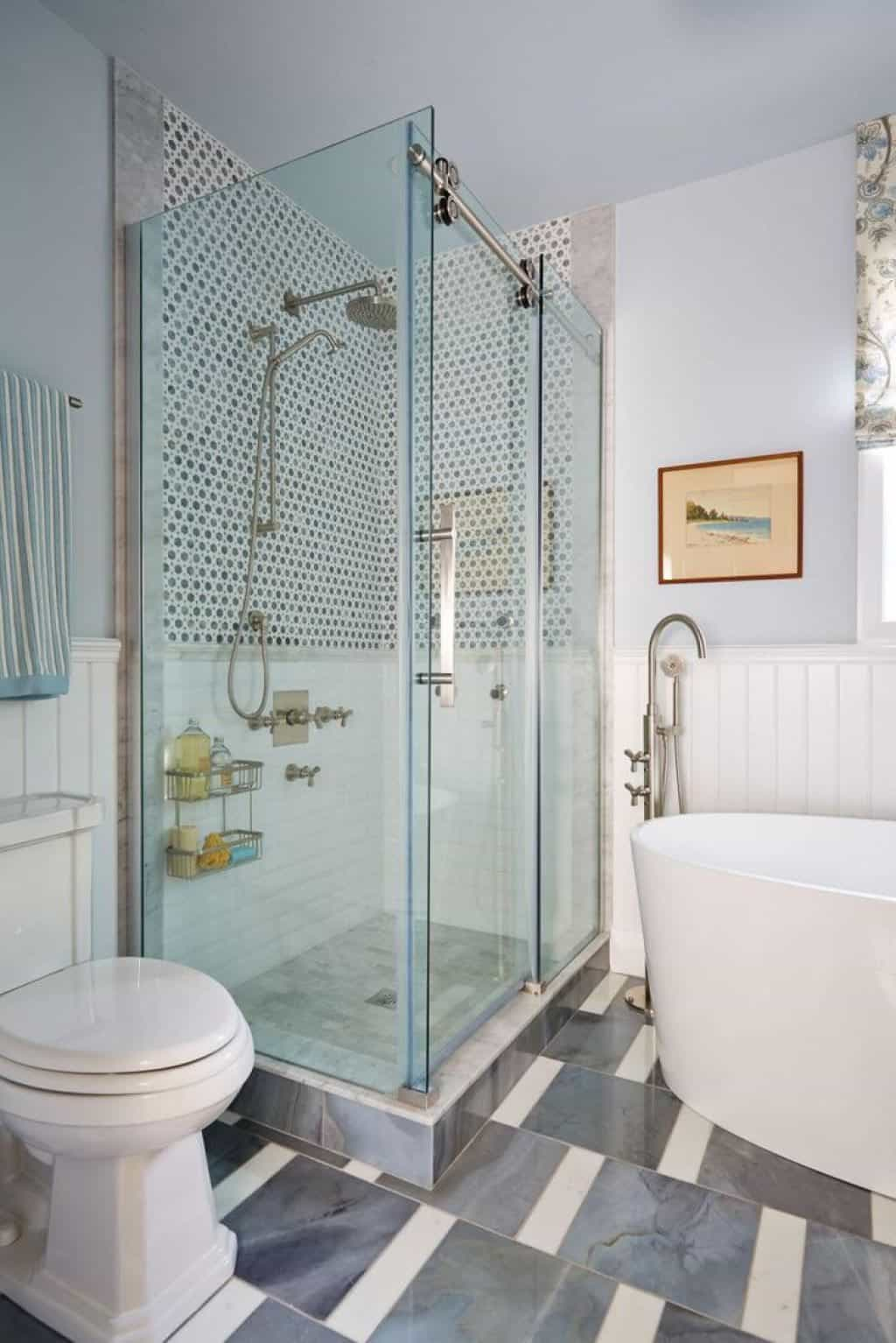Bathroom With Corner Glass Shower Stall And Freestanding Tub in measurements 1024 X 1534