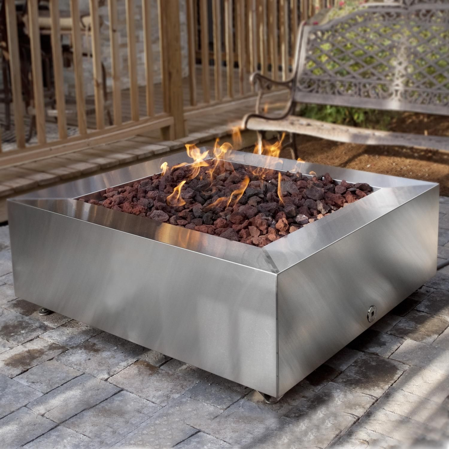 Bbqguys 42 Inch Stainless Steel Square Fire Pit Natural Gas throughout sizing 1500 X 1500