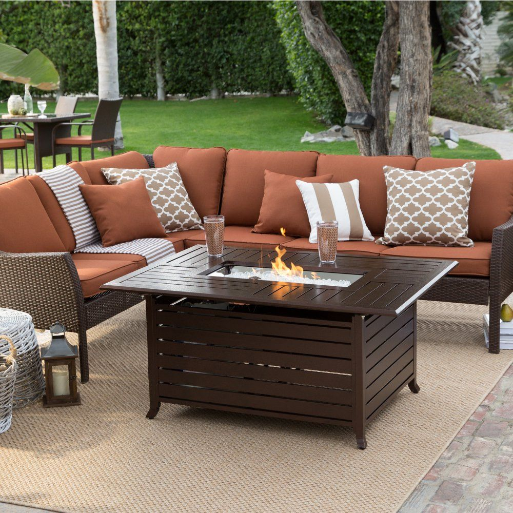 Belham Living Devon All Weather Wicker Fire Pit Conversation Set inside proportions 1000 X 1000