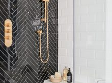 Black Herringbone Tile Feature Wall In Shower Feature Walls That pertaining to sizing 1000 X 1561