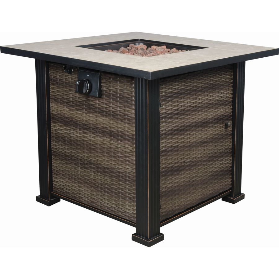 Bond 30 In W 50000 Btu Black Brown Steel Liquid Propane Fire Table within proportions 900 X 900