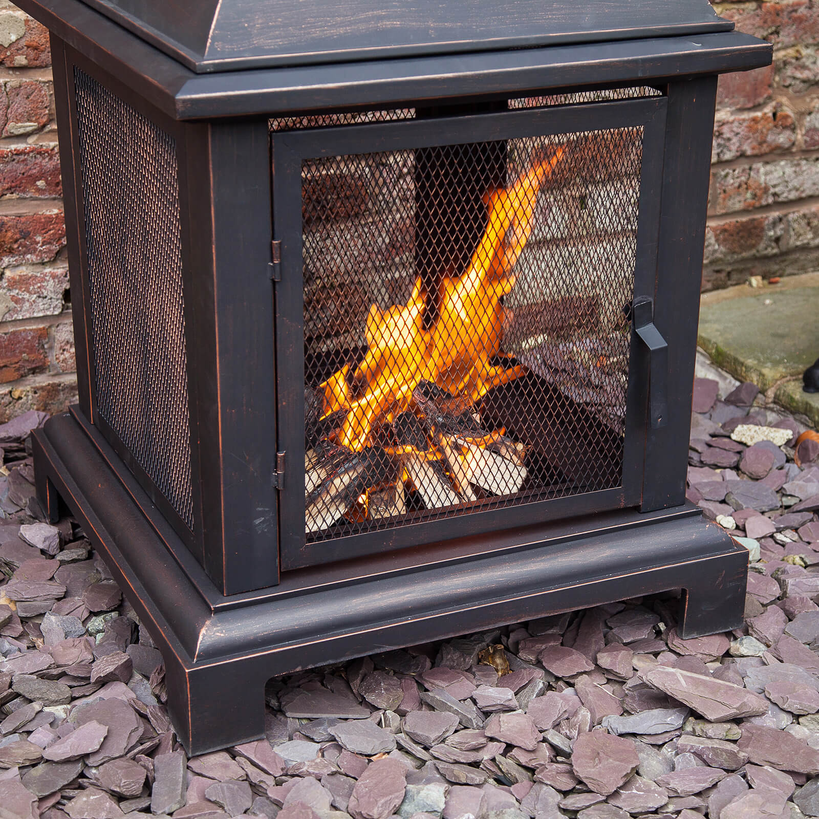 Caicos 40 Black Steel Lantern Log Burner Fire Pit pertaining to size 1600 X 1600