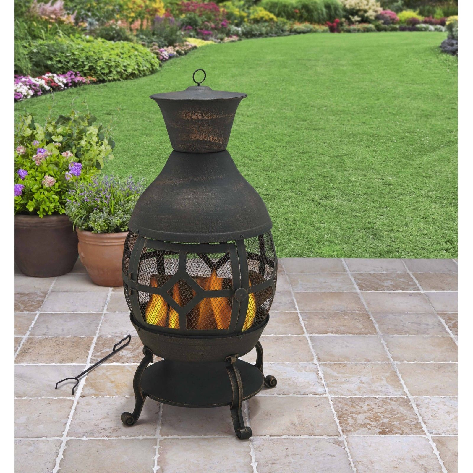 Cast Iron Chiminea Outdoor Fireplace Fire Pit Antique Bronze W in proportions 1600 X 1600