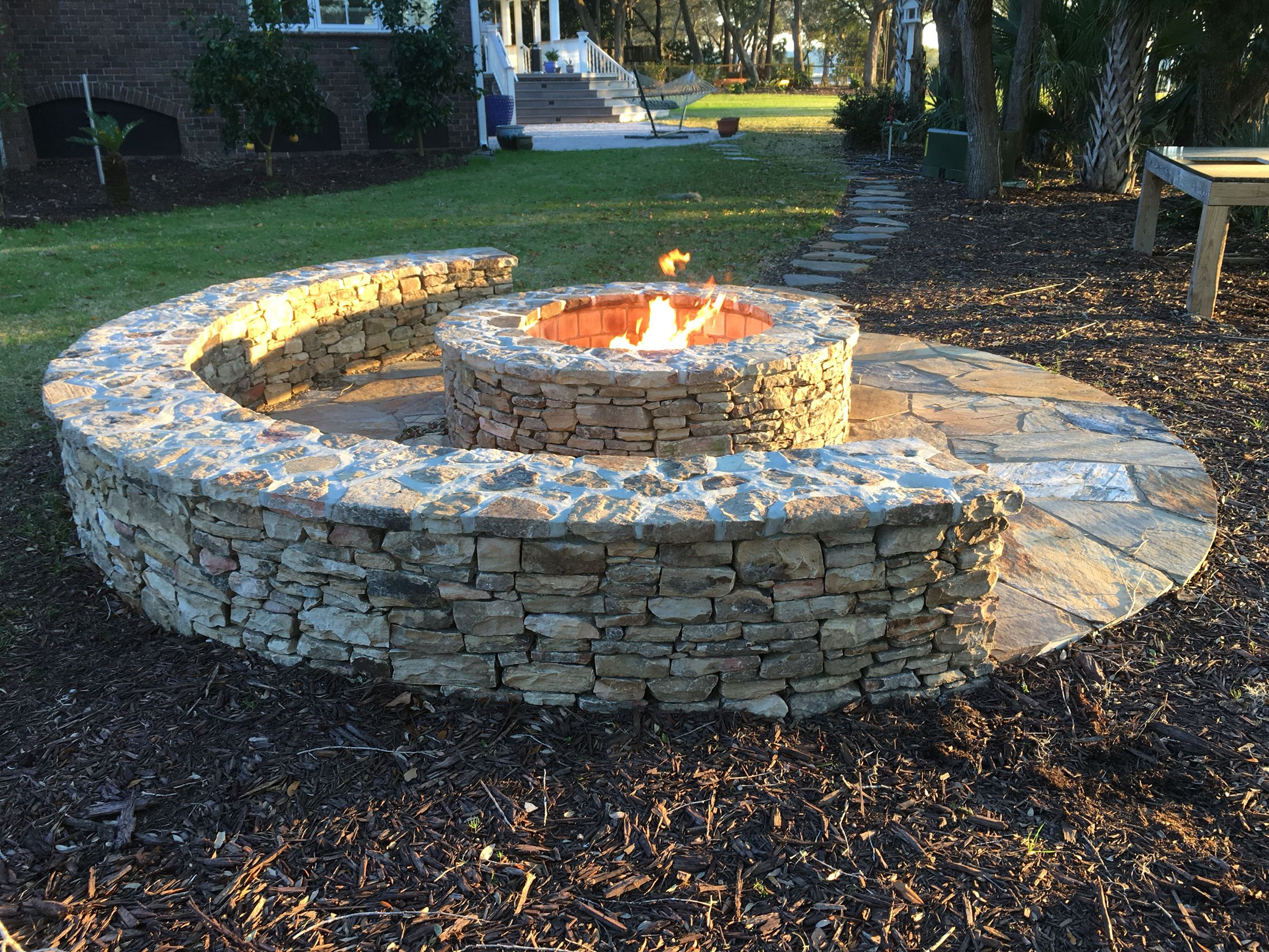 Classic Half Moon Stone Firepit With Gas Starter Firepits In 2019 with dimensions 2208 X 1656