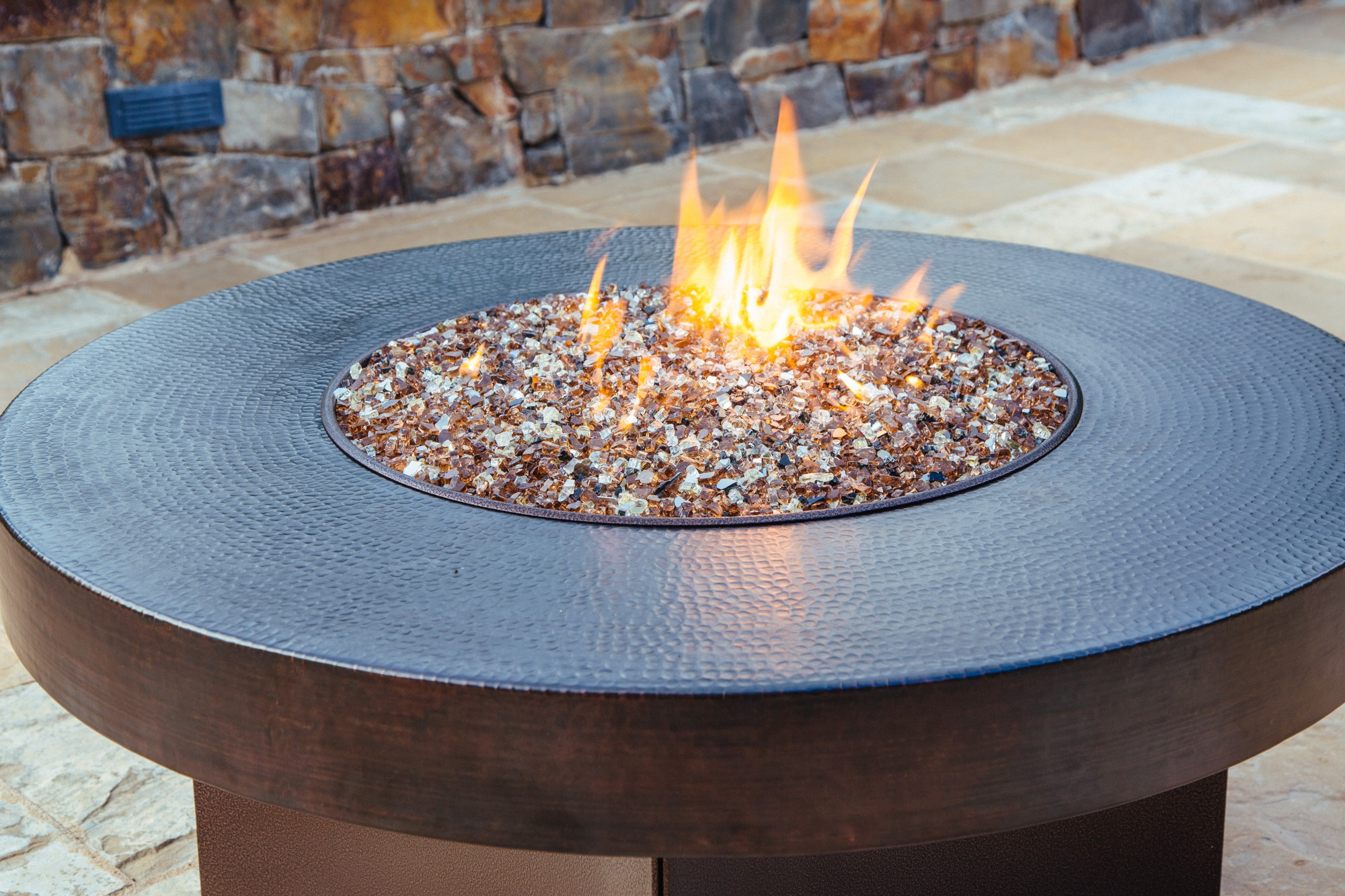 Copper Fire Pit Table Hammered Copper Fire Pit Table throughout proportions 2000 X 1333
