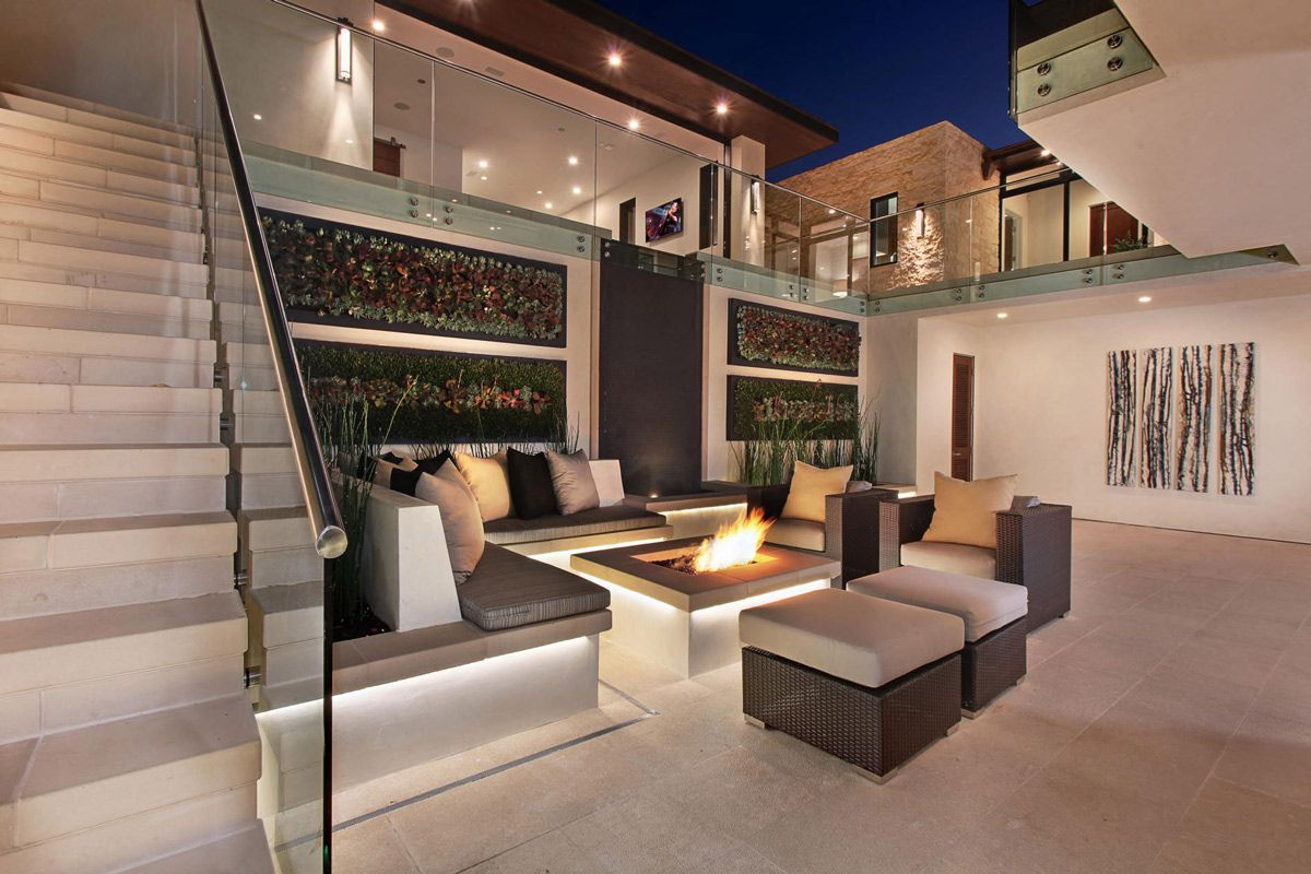 Courtyard Fire Pit Outdoor Furniture Home In Corona Del Mar throughout dimensions 1200 X 800