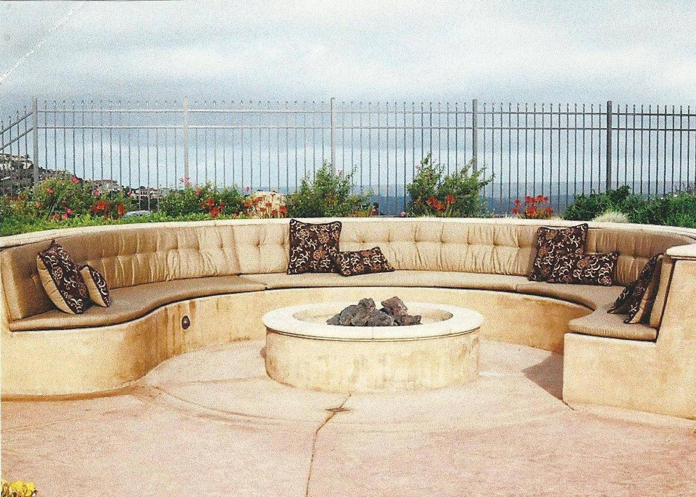 Curved Concrete Custom Bench Cushions Made In Sunbrella Patio inside size 1362 X 973