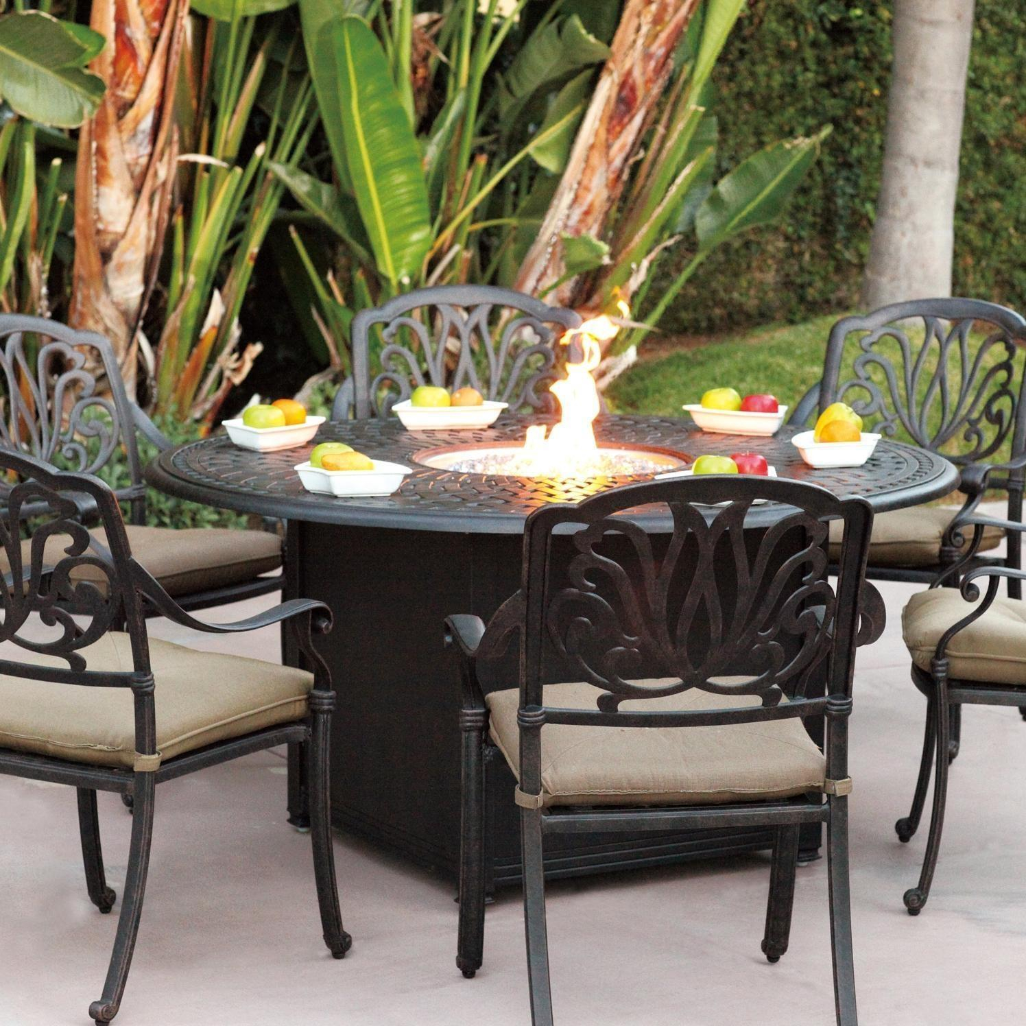 Darlee Elisabeth 7 Piece Cast Aluminum Patio Fire Pit Dining Set intended for dimensions 1496 X 1496