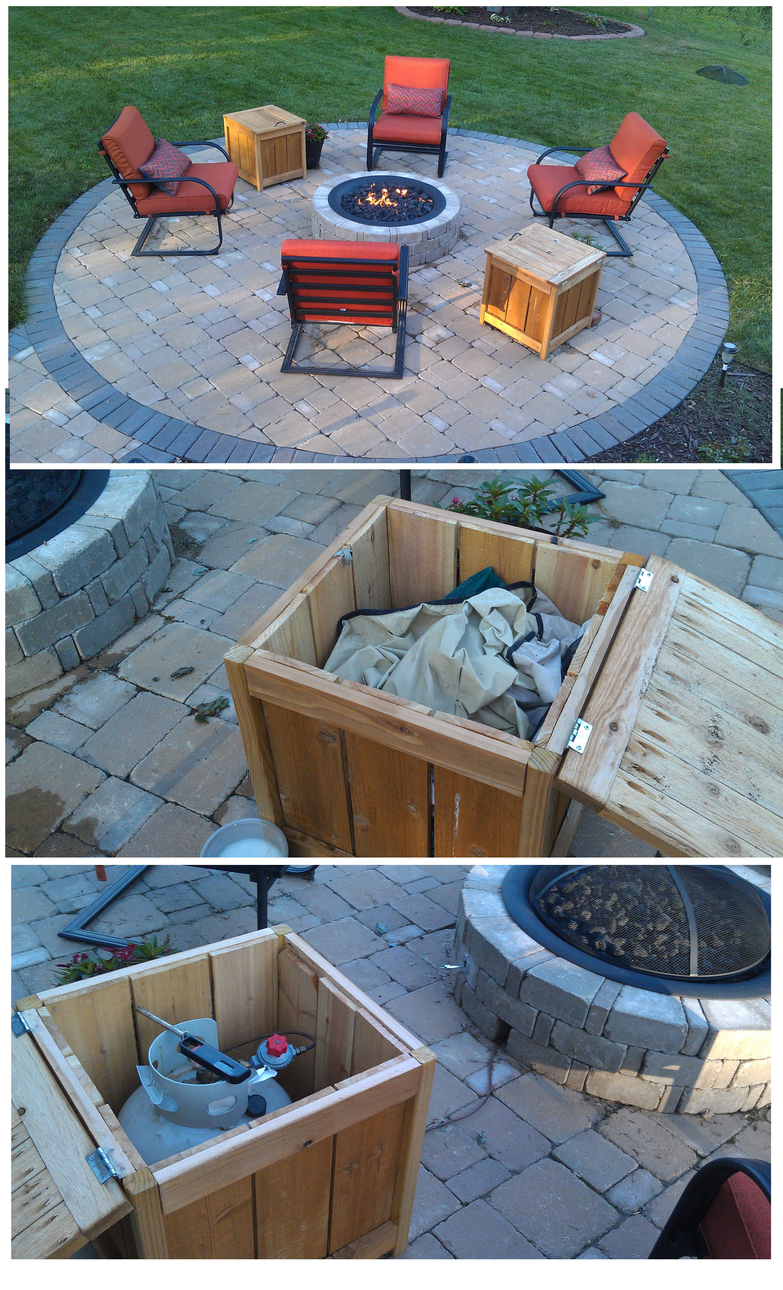 Diy Firepit Storage Tables One Holds The Propane Gas Tank For The in proportions 2550 X 4200