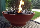 Diy Table Top Fire Pit Made With Black River Rocks And Real Flame intended for dimensions 1320 X 1089