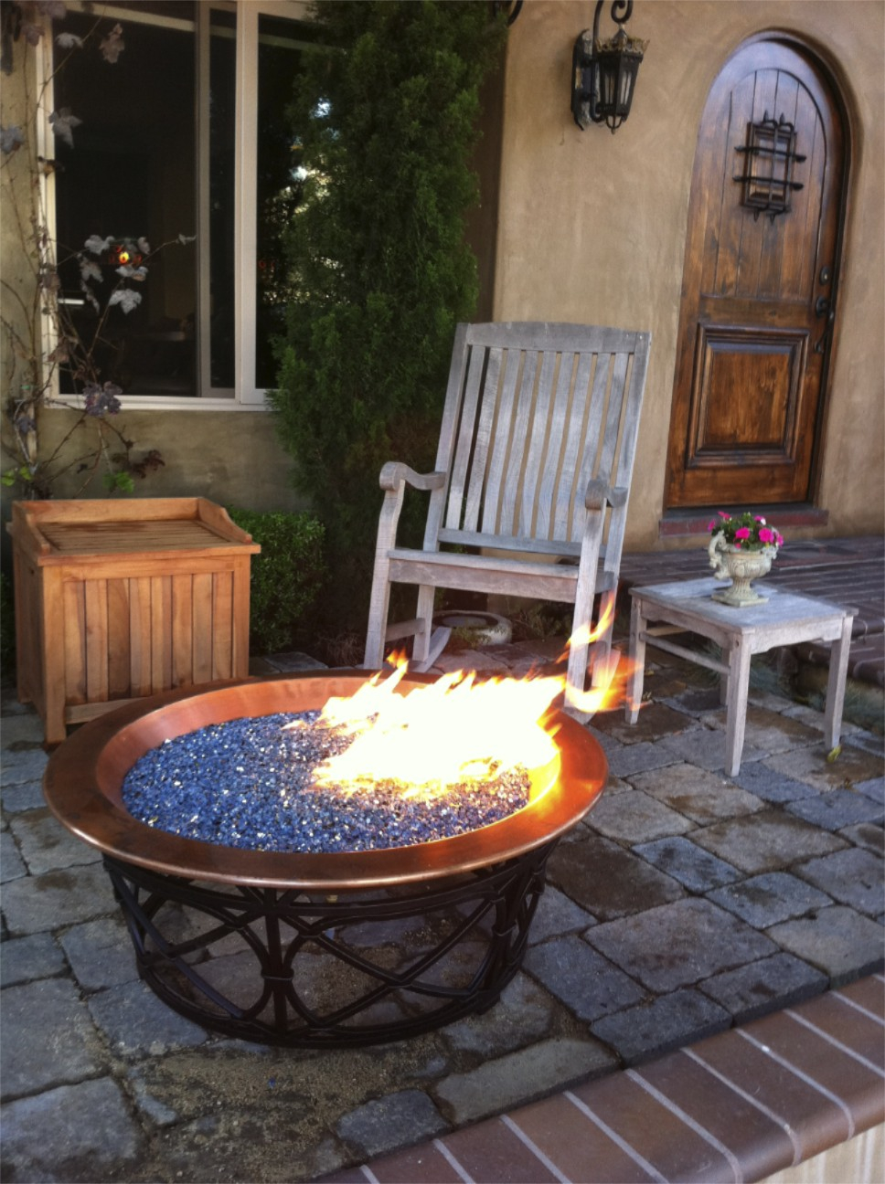 Electric Blue Reflective Crystal Diamond Fire Pit Glass Fire Pit in sizing 968 X 1296