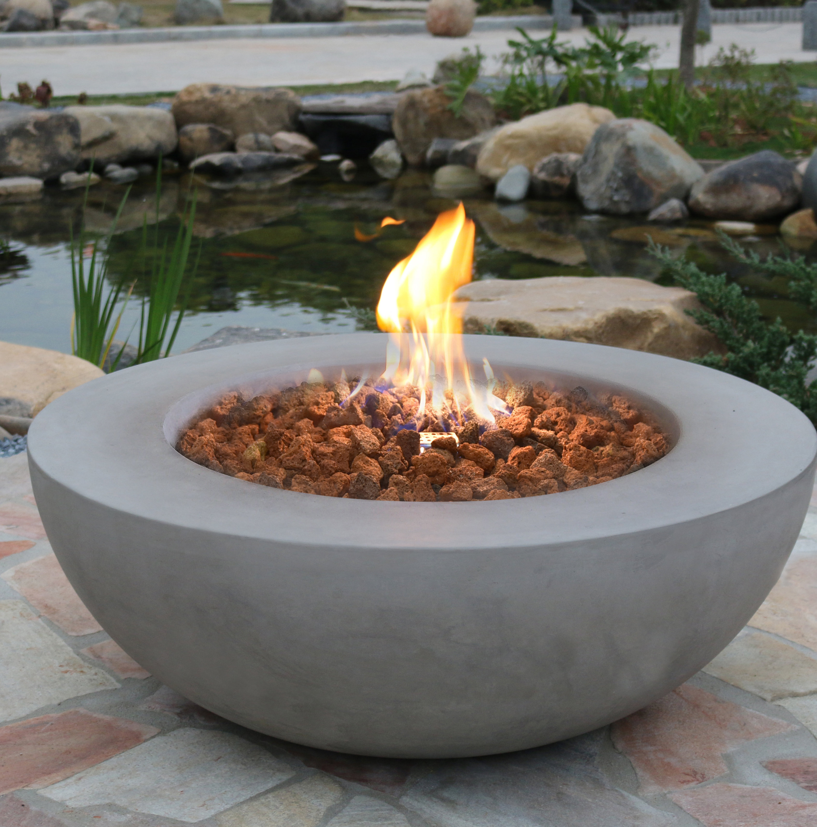 Elementi Lunar Concrete Fire Pit Reviews Wayfair regarding sizing 3383 X 3424
