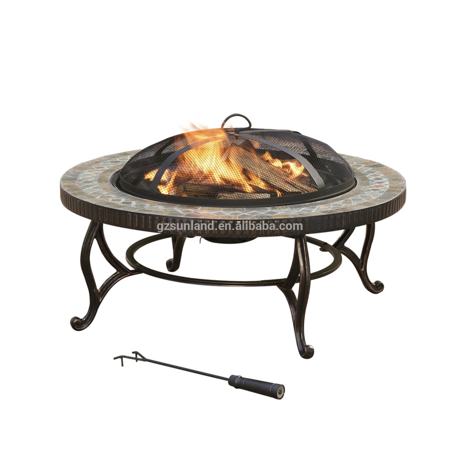 Elizabeth Natural Slate Top Ceramic Fire Pit With Copper Accents within proportions 1500 X 1500