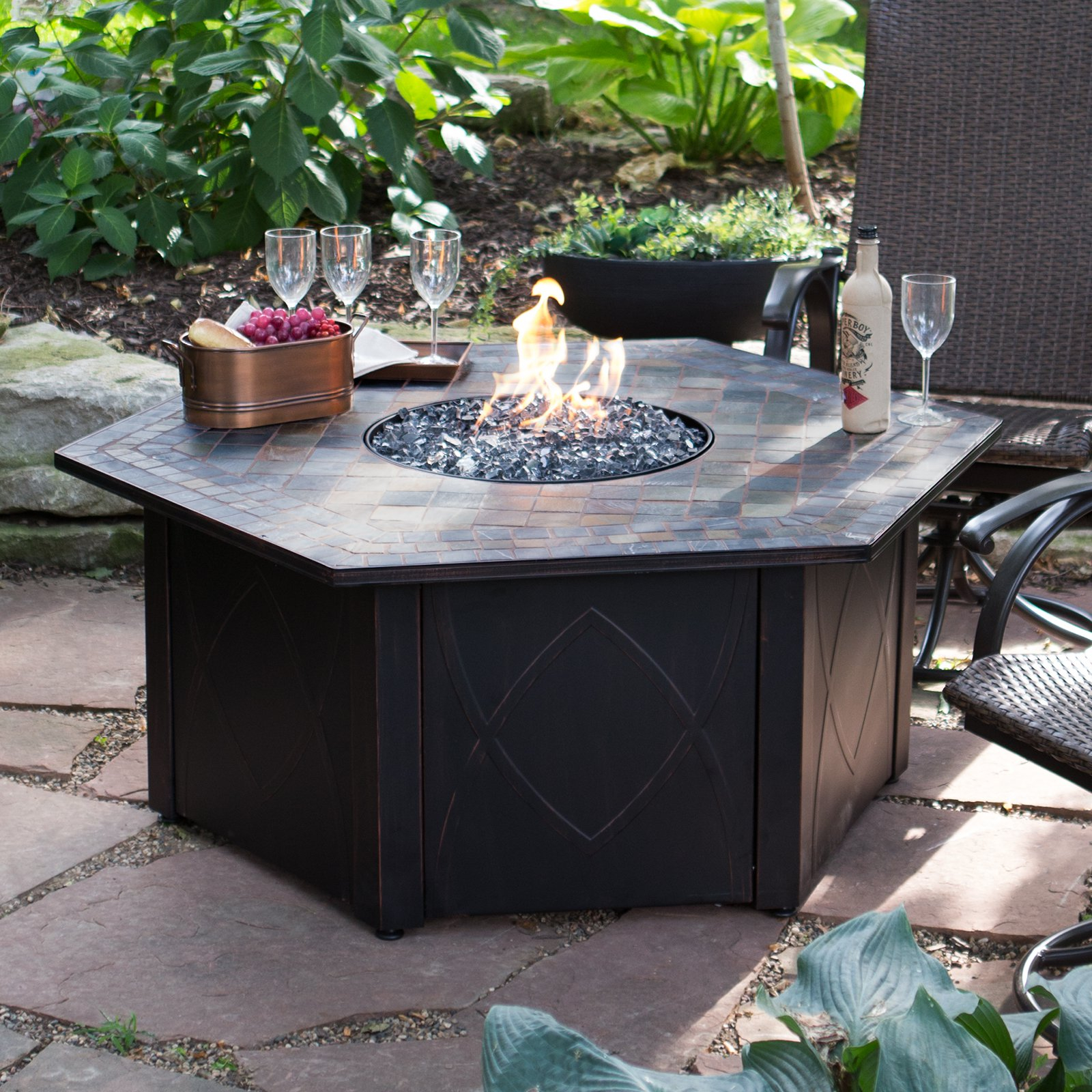 Endless Summer 55 In Decorative Slate Tile Lp Gas Outdoor Fire Pit throughout proportions 1600 X 1600