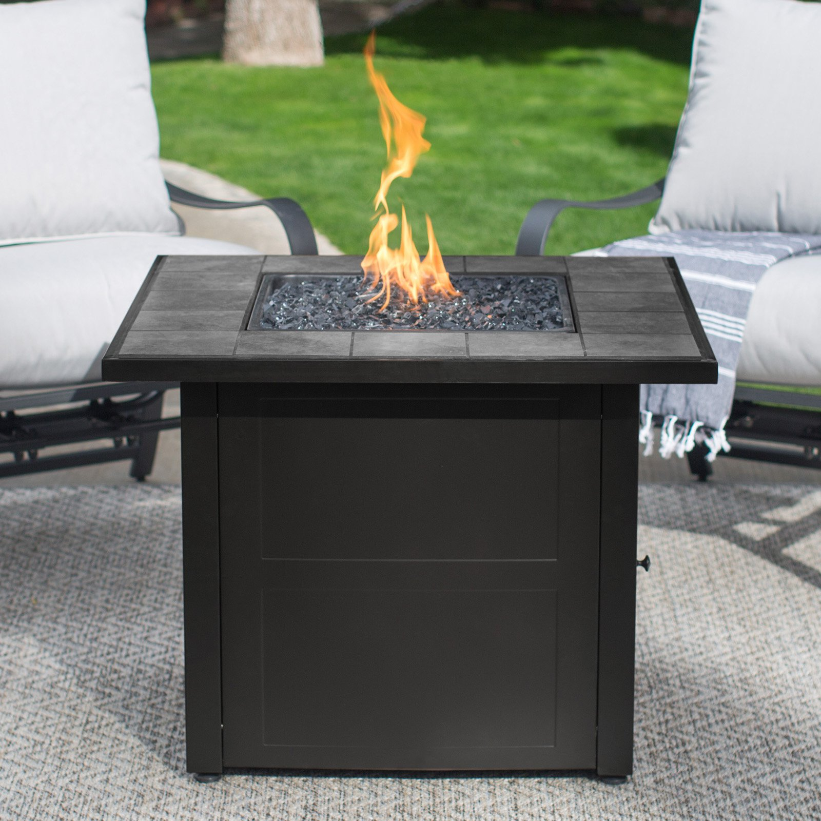 Endless Summer Lp Gas Outdoor Fire Pit Slate Tile Mantel Walmart throughout sizing 1600 X 1600