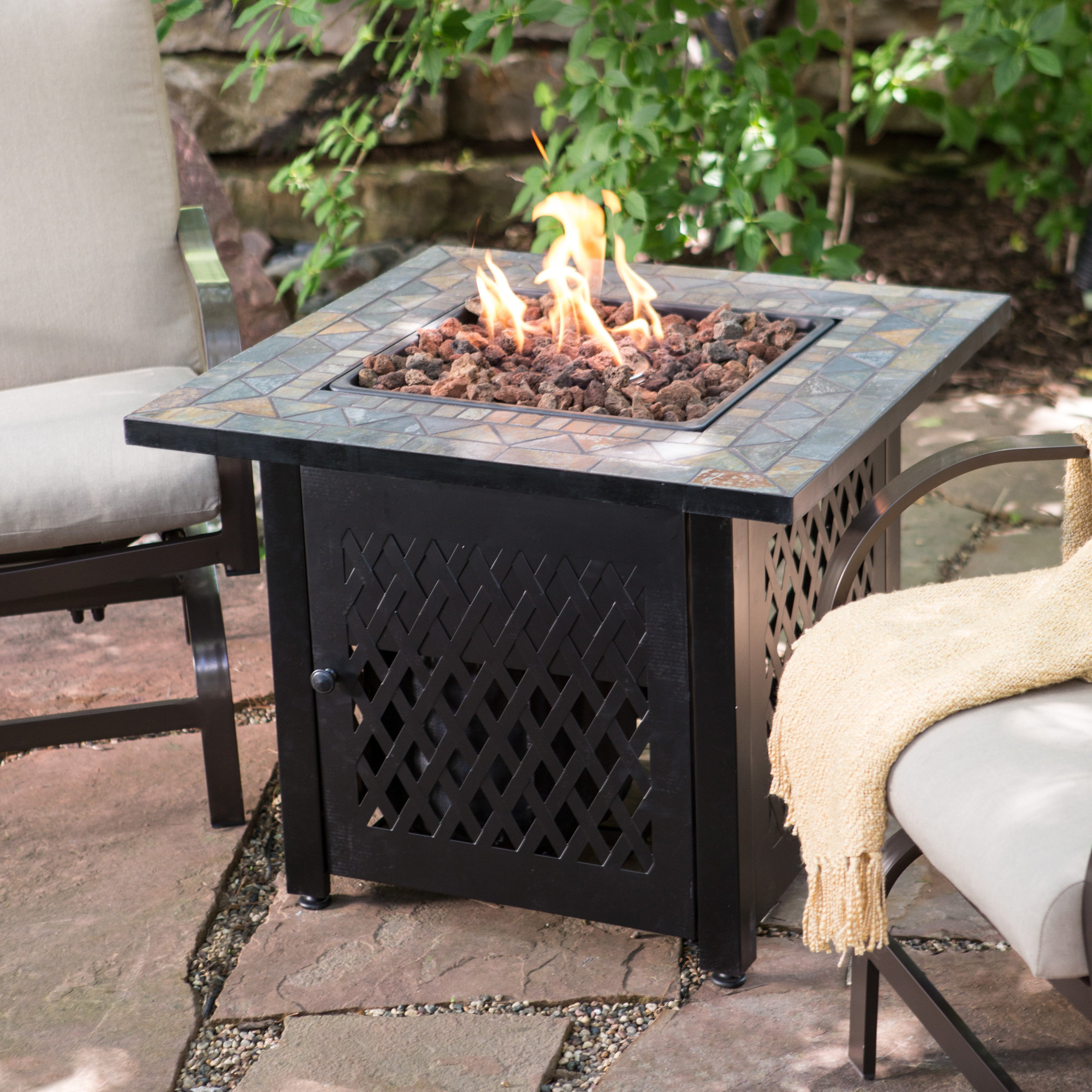 Endless Summer Slate Mosaic Propane Fire Pit Table With Free Cover in dimensions 3200 X 3200