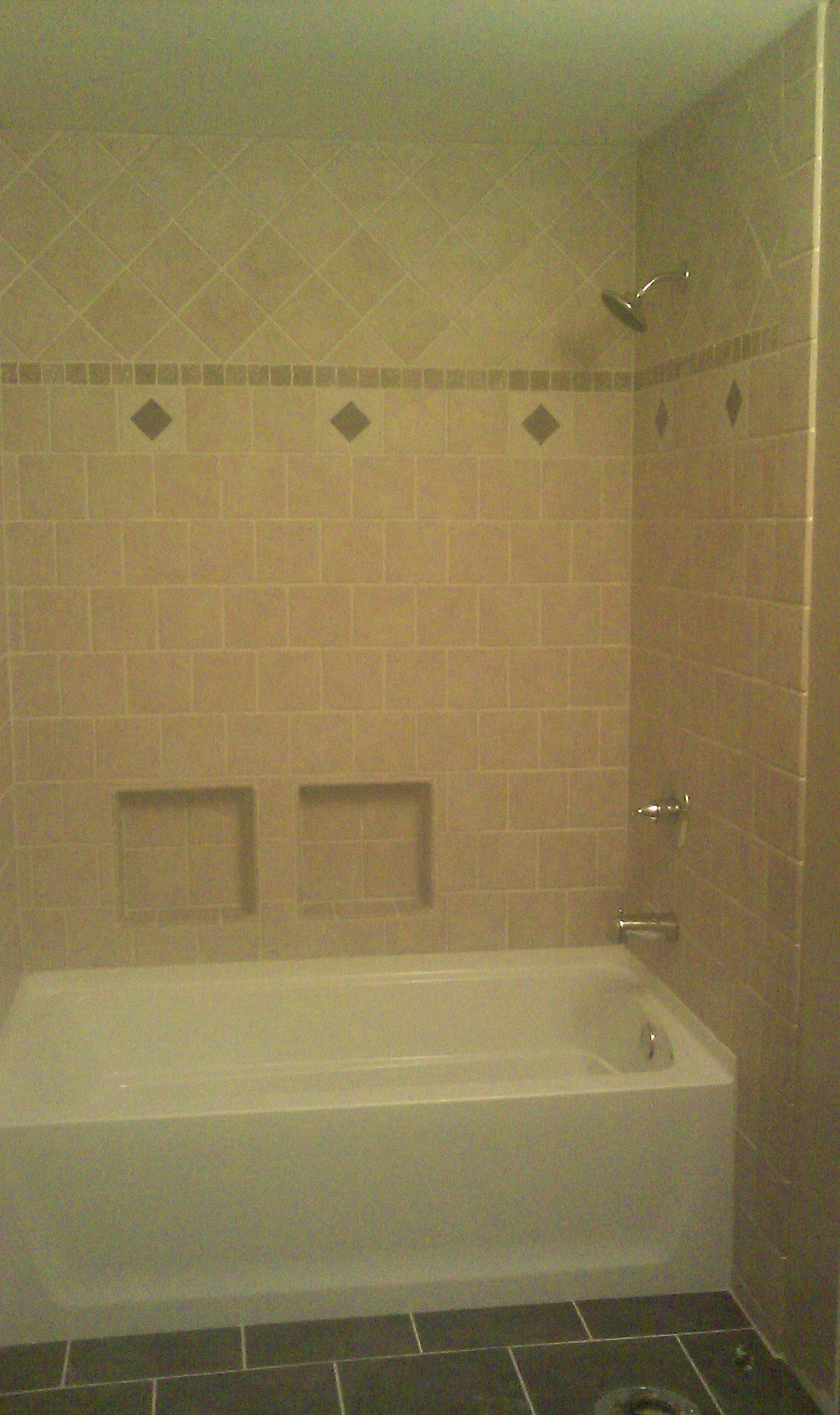 Fiberglass Bath Tub Made Fancy With Custom Tile Wall Surround Tile in measurements 1216 X 2048