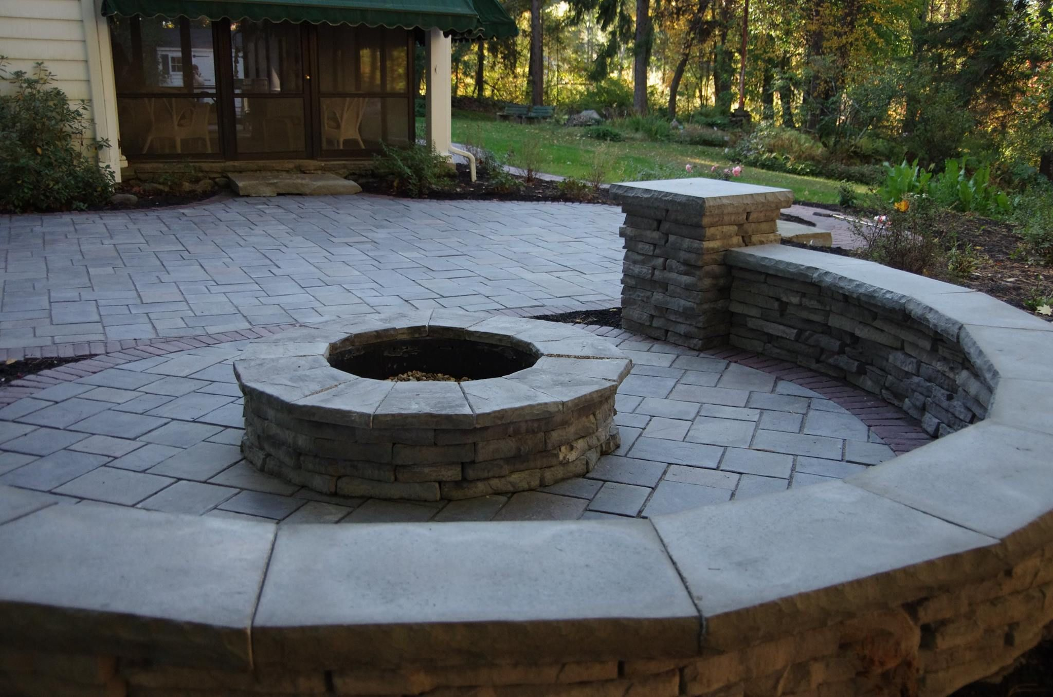 Fire Pit And Sitting Wall Made From Unilock Rivercrest And within proportions 2048 X 1356