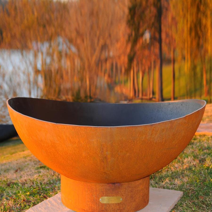 Fire Pit Art 36 In W Iron Oxide Patina Steel Wood Burning Fire Pit intended for sizing 900 X 900