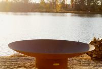 Fire Pit Art 60 In W Iron Oxide Patina Steel Wood Burning Fire Pit intended for sizing 900 X 900